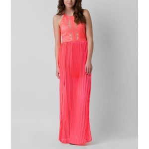 Buckle maxi coral dress